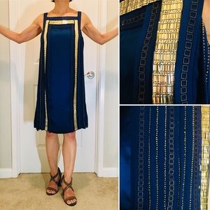 NWT Temperley Royal Blue Embellished Silk Dress